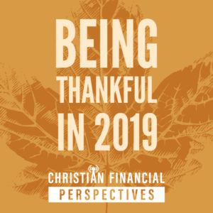 Abstract orange leaf with title Being Thankful in 2019 Christian Financial Perspectives Podcast Cover Art